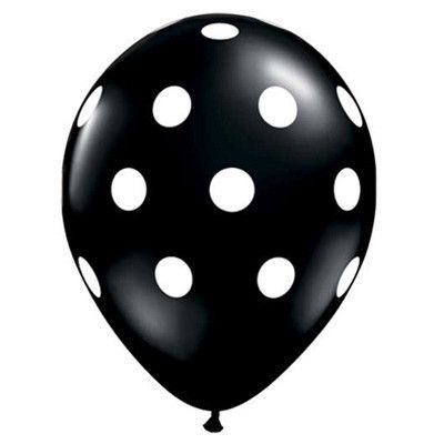 A party just isn't a party without balloons! These sweeties feature white polka dots on a solid color latex balloon.