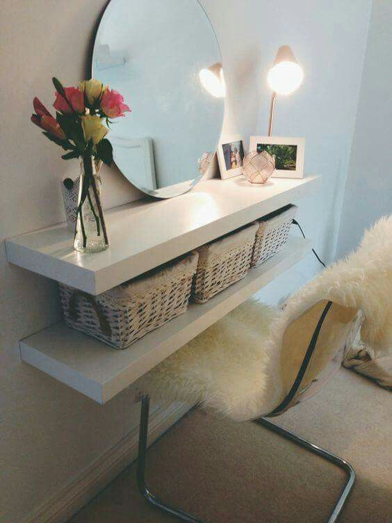 Perfect low cost vanity table for small room.
