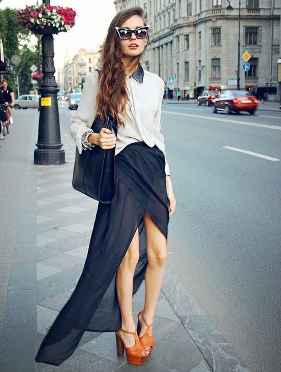 Asymmetrical Sheer Black Maxi Skirt