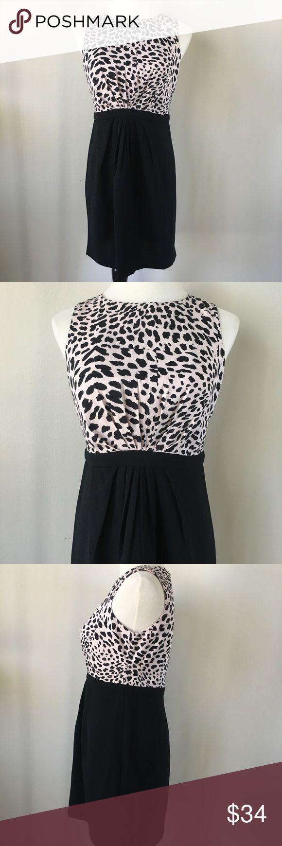 Ann Taylor Loft Animal Print Work Dress pink animal print upper with black skirt //sleeveless // wear to work sheath dress // hidden back zipper // above knee length // 100% polyester // excellent condition LOFT Dresses