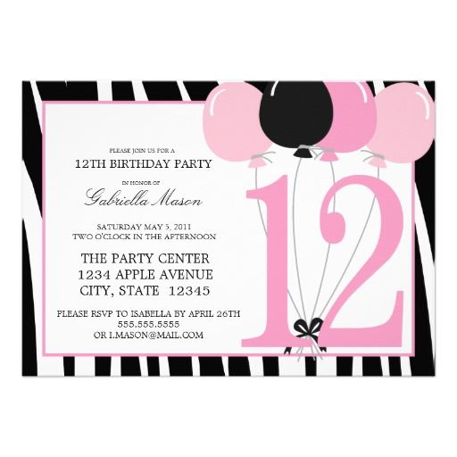 17 best 12th Birthday Party Invitations images on Pinterest - format for birthday invitation