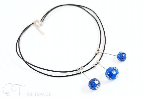 Murano glass blue layered choker necklace by EThandmadeshop