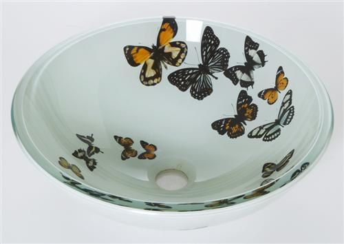 butterfly sink DeNovo Caribella CRB--6257 Butterfly Spiral Glass ...
