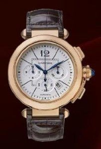 Cartier Pasha Chronograph Extra Large (RG/ Silver/ Leather) : Condition: Brand New Case Size: 34mm x 28mm Also Known As: WA5049MC Gender: Ladies Movement: Manual Wind Functions: Hours, Minutes Band Ty