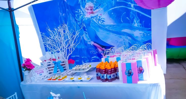 Frozen birthday party.  Candy table