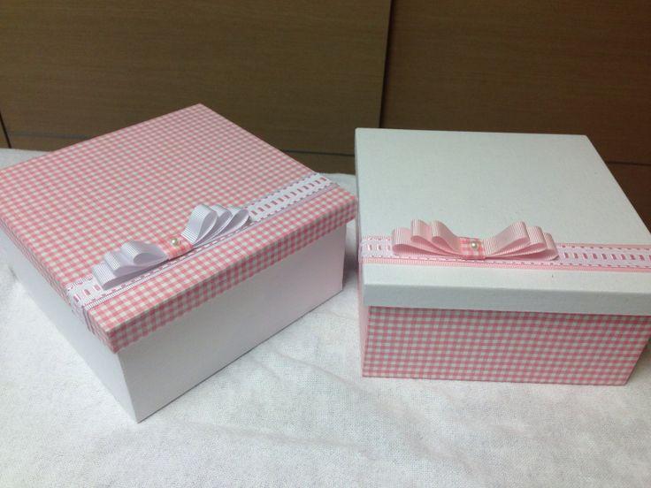 caixa revestida Rosa e branco
