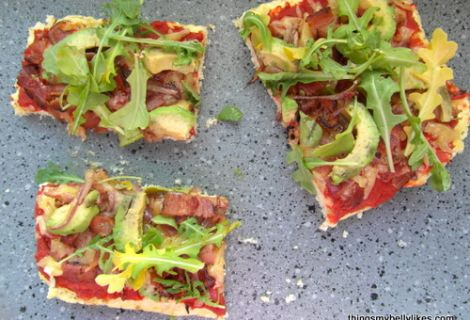 Fast Paleo » Bacon, Avocado & Arugula Flatbread - Paleo Recipe Sharing Site
