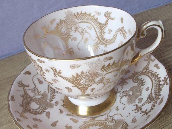 Antique Tuscan gold dragons tea cup set vintage by ShoponSherman,