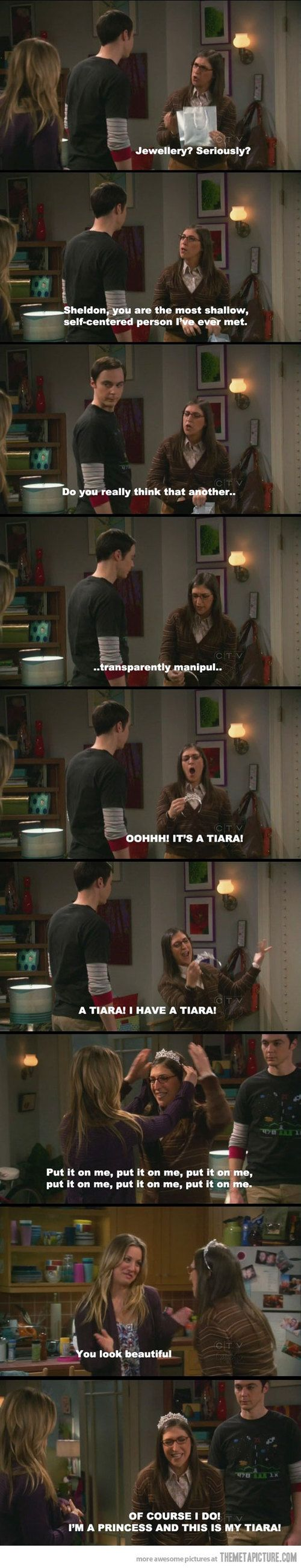 The Big Bang Theory. Haha this is one of my favorite scenes. <3 Sheldon and Amy are so wonderfully cute together.