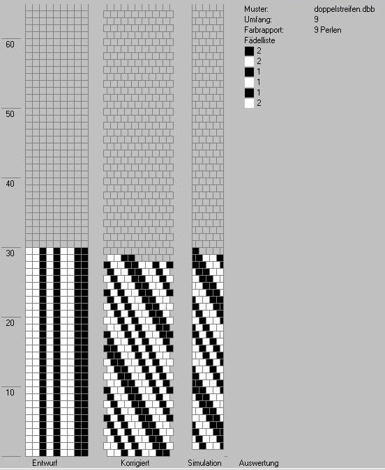 Schlauchketten häkeln - Musterbibliothek: doppelstreifen