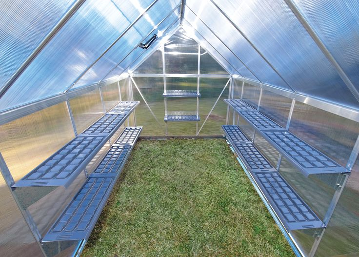 Durable light weight shelf system attached to the aluminum frame inside the greenhouse.  Can hold 20 KG = 44 Lb  Can easily be re-positioned for changing needs.