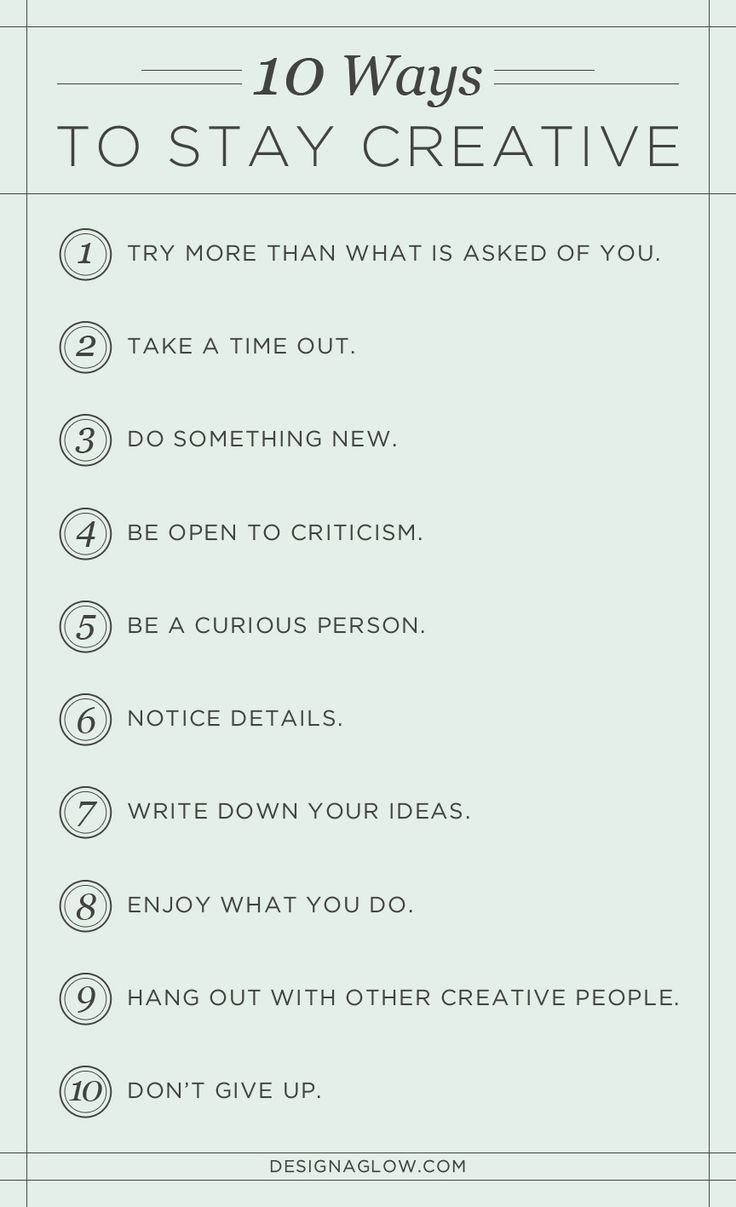 10 Ways to Stay Creative http://sulia.com/my_thoughts/88ae125c-1ad6-4145-baf0-eaf184f0f3f7/?source=pin&action=share&btn=small&form_factor=desktop&pinner=6999301