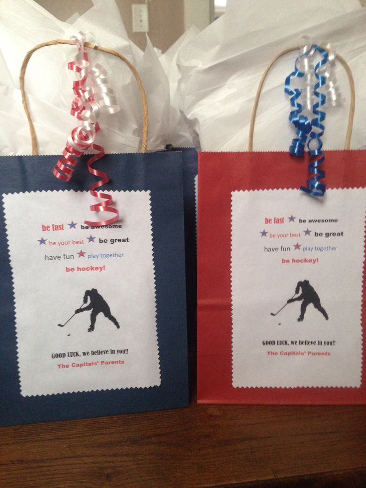 Goodie bags of encouragement for my sons hockey team as they start the state tournament.  I filled them with granola, fruit, Gatorade, pretzels, muffins, pb crackers, and a couple pieces of candy!