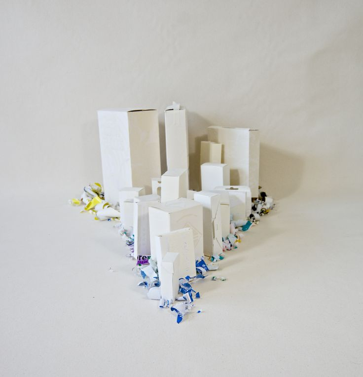 Tsunami Installation, carved out packaging and medicine boxes