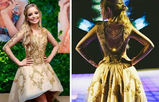 Giovanna Chaves vestido dourado, 15 anos