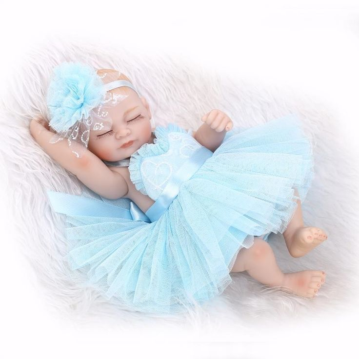 (32.28$)  Buy here  - 27CM Lovely reborn babies full silicone body with princess blue dress children toys boneca reborn realista