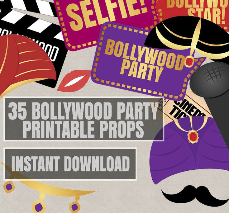 35 Bollywood Photo Booth Props, bollywood themed party props, love hindi party…