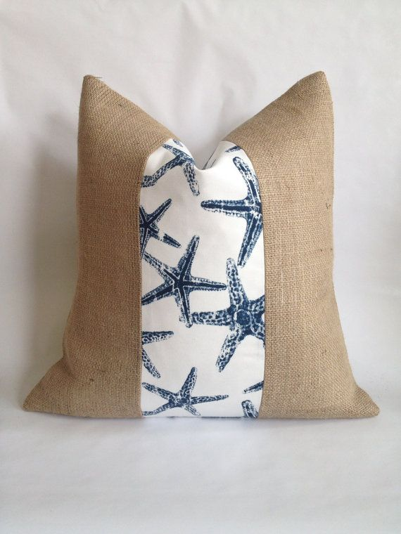 Navy and White Starfish Fabric and Natural Burlap Pillow Cover & 130 best Burlap pillows images on Pinterest   Burlap pillows ... pillowsntoast.com