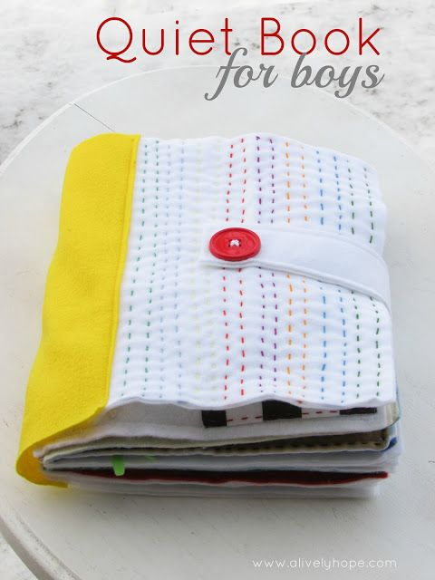 Beautiful hand-stitched quiet book for boys. Lots of free patterns from around…