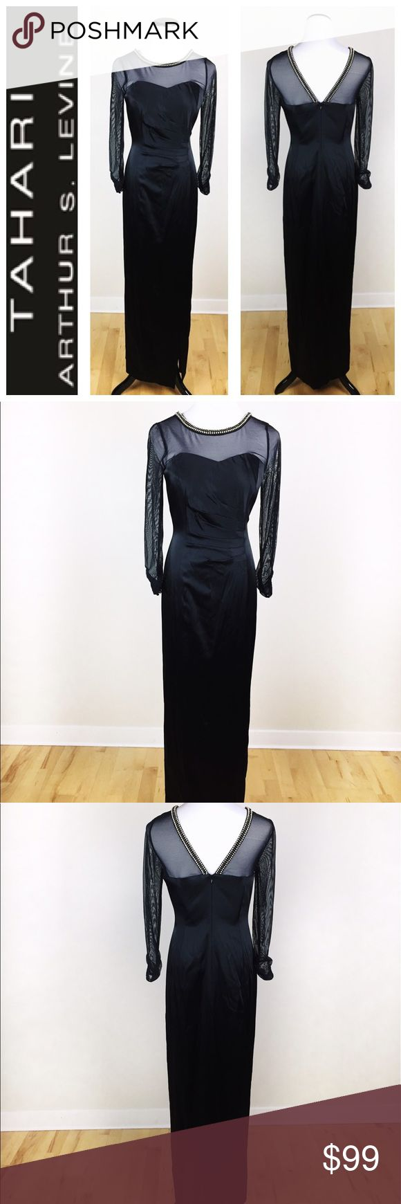 TAHARI ARTHUR LEVINE BLACK GOWN SIZE 8 Stunning Tahari by Arthur Levine black gown in size 8. With gorgeous rhinestones surrounding the neck area and mesh sleeves! Absolutely gorgeous with an old Hollywood glamour flair! Very body flattering. New without tags, never worn, been in a closet. No flaws. Love it? Make an offer! Questions? Ask me 😉 Tahari Dresses
