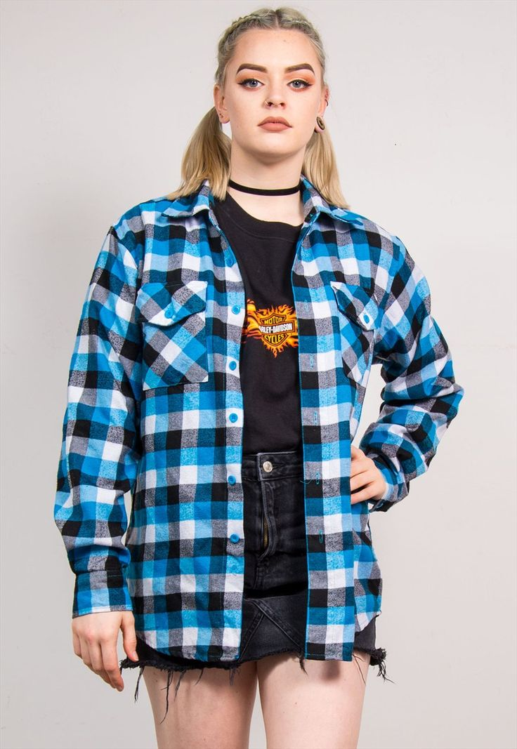 90's Retro Blue Big Check Pattern Flannel Shirt | The Vintage Scene | ASOS Marketplace