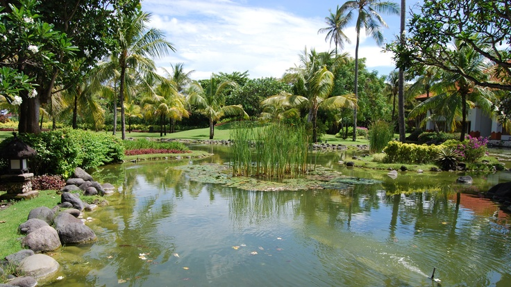 Garden view during breakfast at Intercontinental Hotel, Jimbaran, Bali.
