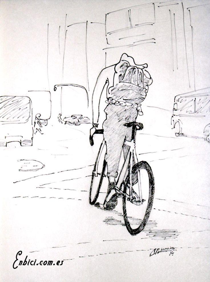 Ilustración de mensajero en bicicleta