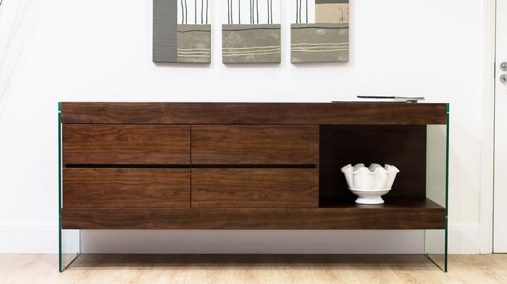 Aria Glass and Espresso Dark Wood Sideboard £689.00