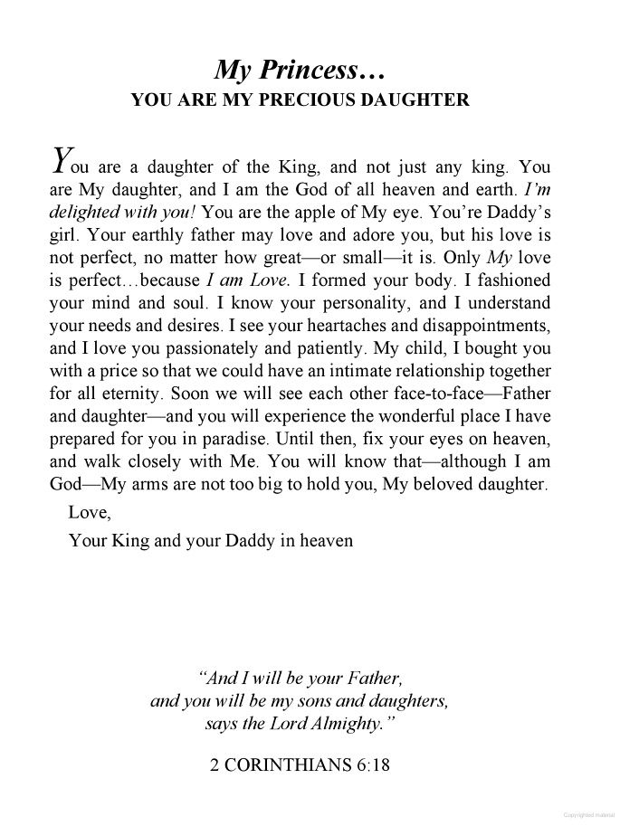 To My Princess... you are My precious daughter | Letters ...