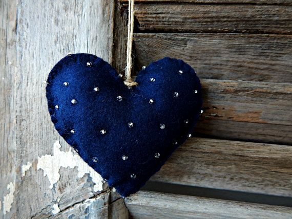 A pair of felt hearts.Two heart ornaments gray by LotsofloveArt