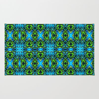 Blue and Green Stained Glass Area & Throw Rug by Celeste Sheffey of Khoncepts. $28.00. #homedecor #rug