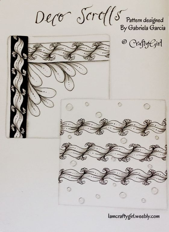 """Examples of tangle pattern """"Deco Scrolls"""" designed by Gabriela Garcia """"CraftyGirl"""" press image and visit website for steps and tips on how to draw """"Deco Scrolls"""""""