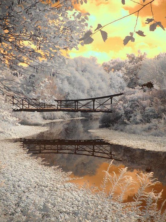 Bridge Reflections- De weerspiegeling die hier is weergeven is heel helder en de oranje lucht maakt de foto spannend.