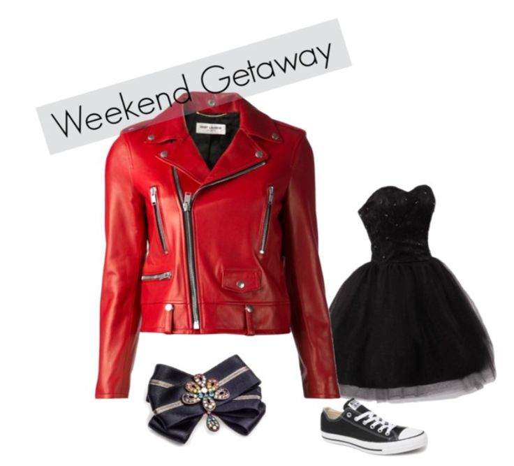 But if you would like to be a casual princess during the weekend, this edition of black and red will be head turning! (Saint Laurent Classic Biker Jacket, black Sweetheart Lace Tulle Short Prom from Amazon, Converse Chuck Taylor All Star Low Top Sneakers, brooch by House of April)