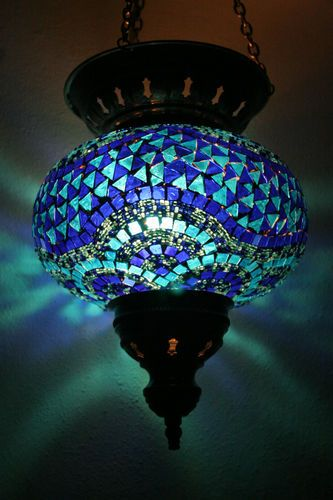 Extra Large Turkish Moroccan Mosaic Hanging Lamp Pendant