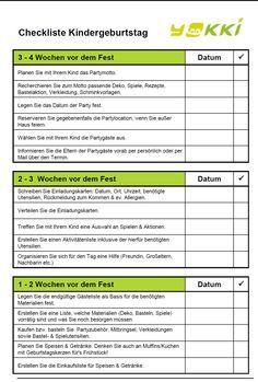 Checkliste Planung, Ideen und Spiele für den Kindergeburtstag von yokki.de