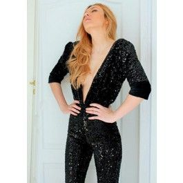 Incredible Sexy Black Sequin Jumpsuit for a crazy night out in towm!