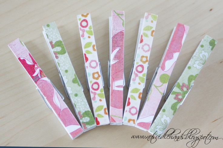 Scrapbook Paper Clothespin Magnets | Not So Idle Hands