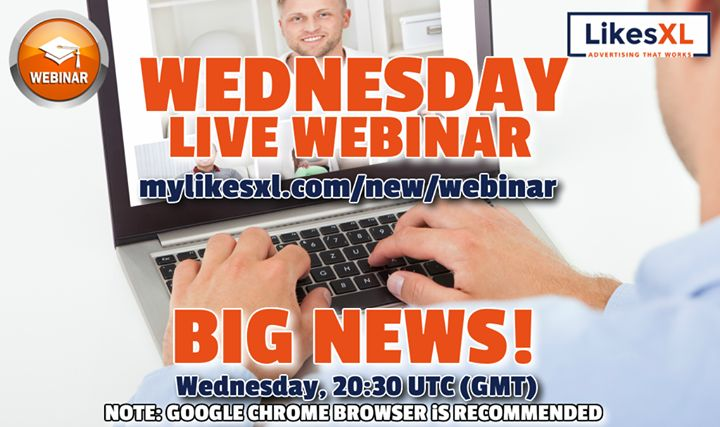 Business Presentation webinar. BIG NEWS this time??  This Wednesday 20:30 UTC (GMT)  LikesXl Updates   Promotional Budget Removal   Activation of Accounts In International Platform Deadline   Q&A  Registration Link : http:/www.mylikesxl.com/new/webinar  NOTE: GOOGLE CHROME BROWSER iS RECOMMENDED Don't miss it!  #webinar #marketing #makemoneyonline #internetmarketing #onecoin #affiliatemarketing  #onlinemarketing #onlineincome #passiveincome #MyLikesXL #BidsLXL #LXLPRO #LikesXL#questra…