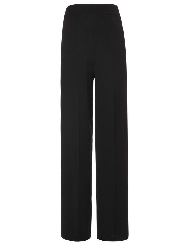 Vergroot - Zwarte losse broek met hoge taille en wijde pijpen