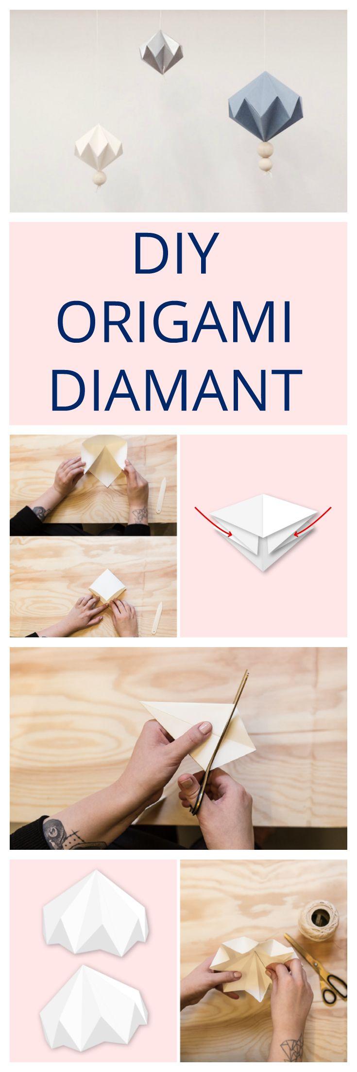 Einfache Anleitung für wunderschöne Papierdeko - Origami Papierdiamant - Papierornament