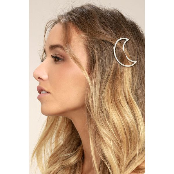 Waning Moon Silver Hair Clip ($12) ❤ liked on Polyvore featuring accessories, hair accessories, silver, barrette hair clip, hair clip accessories, silver hair clips and silver hair accessories