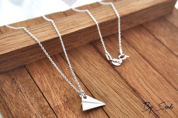 Самолет ожерелье Серебро 925, серебро Самолет, One Direction, вешалка самолет, вешалка бумага самолет, самолет ювелирные изделия, оригами