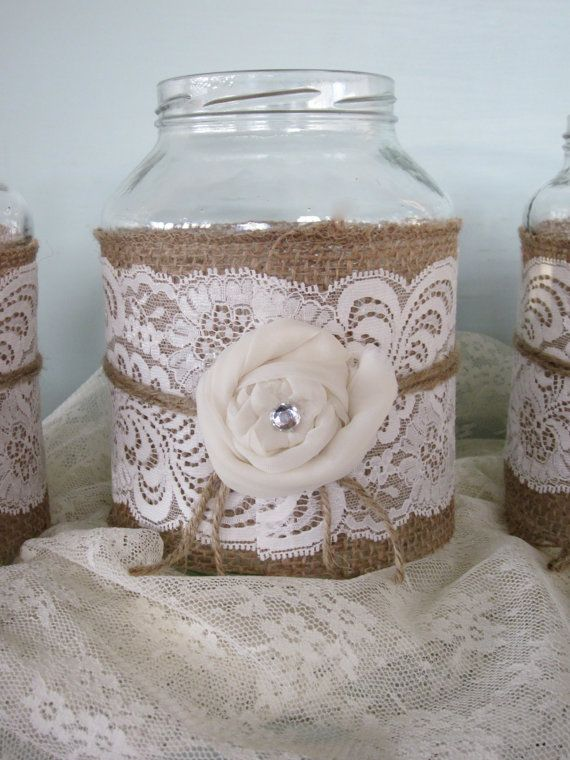 Vintage Lace on Burlap Wedding Mason Jars Set of 3 di Fannypippin