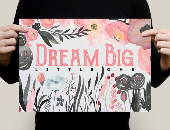 Dream Big Little One Nursery Decor Home Decor by StayGoldMedia
