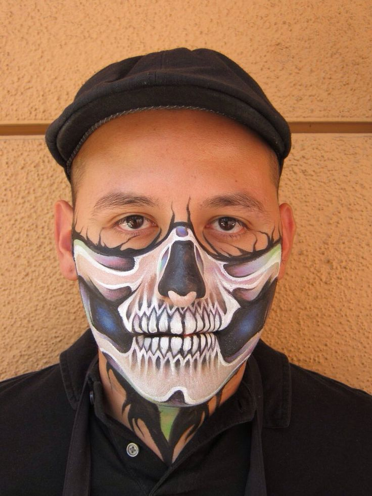 Ronnie Mena || half skull | Halloween Face Paintings ...