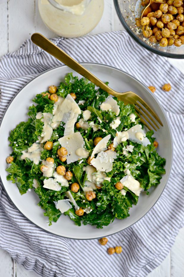 Simply Scratch Healthy Kale Caesar Salad with Tahini Caesar Dressing - Simply Scratch