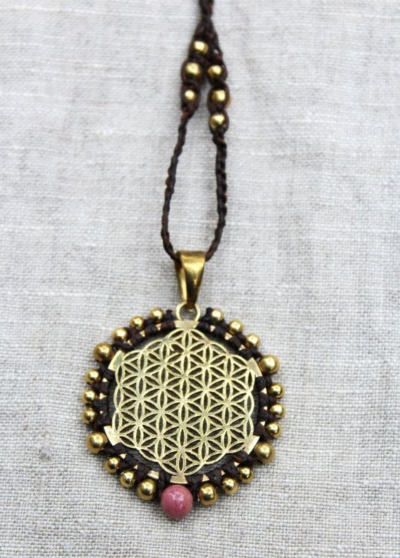 Flower of Life necklace, Sacred Geometry pendant, tribal boho jewellery, macrame, brass beads, Pink Rhodonite Gemstone