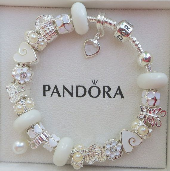 Authentic Pandora Sterling Silver 925 ALE Bracelet with European Beads and Charms Winter White F1 on Etsy, $159.00 -Would look great in one of these displays http://www.rockinghamdisplayshop.co.uk/