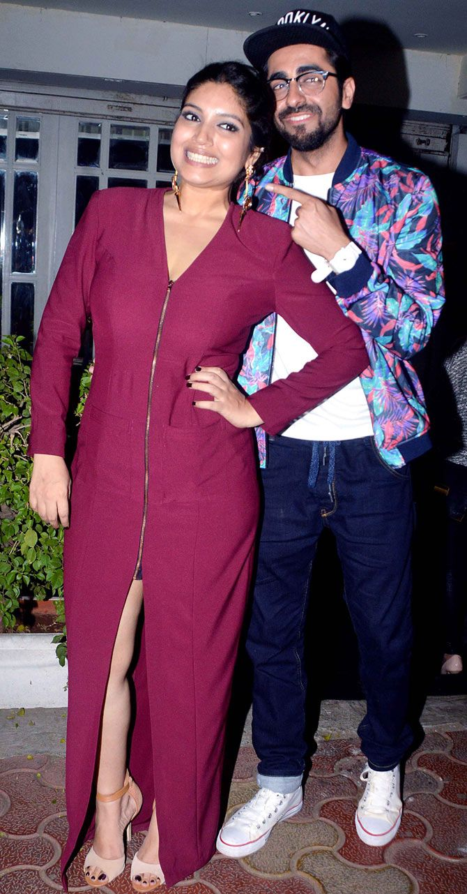 Ayushmann Khurrana and his 'Dum Lagaa Ke Haisha' co-star Bhumi Pednekar. #Bollywood #Fashion #Style #Beauty